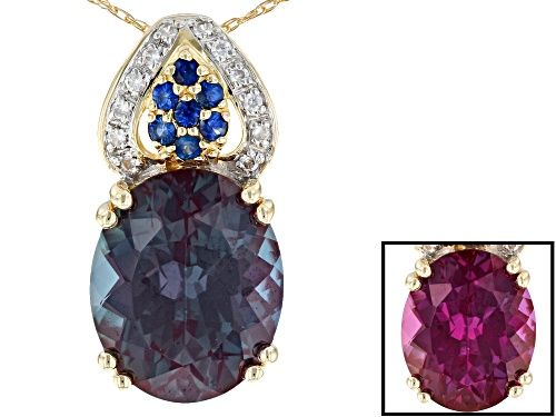 Photo of 4.93ct Lab Created Alexandrite, .10ctw Blue Sapphire & .07ctw Zircon 10k Yellow Gold Pendant W/Chain
