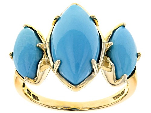 Photo of 15x8mm And 10x5mm Marquise Cabochon Sleeping Beauty Turquoise 10k Yellow Gold 3-Stone Ring - Size 5