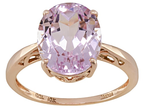 Photo of 3.52ct Oval Kunzite Solitaire 10k Rose Gold Ring - Size 8