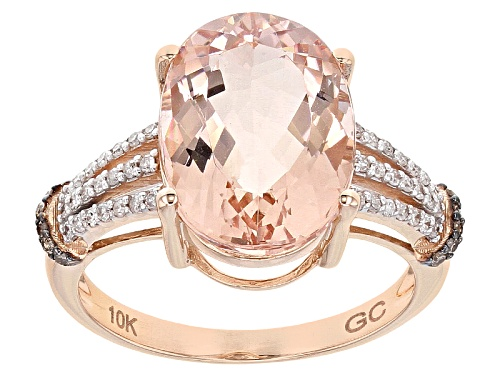 Photo of 5.00ctw Oval Cor-De-Rosa Morganite™ With .22ctw White And Champagne Diamonds 10k Rose Gold Ring - Size 6.5