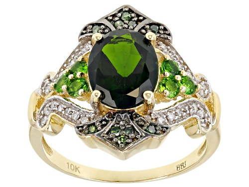 Photo of 1.81ctw Oval And Round Chrome Diopside With .13ctw Diamond Accents 10k Yellow Gold Ring - Size 6