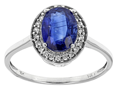 Photo of 1.50ct Oval Kyanite With .11ctw Round White Zircon 10k White Gold Ring - Size 8