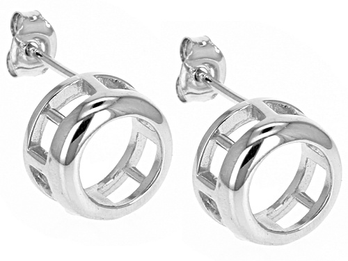Photo of Gemgroove ™ Bezel 9mm Round Sterling Silver Rhodium Over Earring Castings