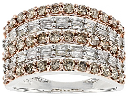 Photo of 1.50ctw Round Champagne And Baguette White Diamond 10k White Gold Ring - Size 6
