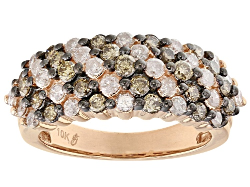 Photo of 1.50ctw Round Champagne And White Diamond 10k Rose Gold Ring - Size 8