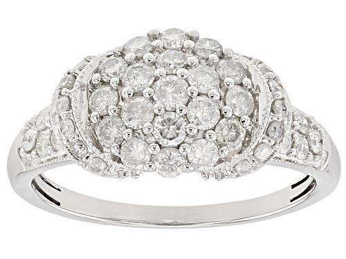 .85ctw Round White Diamond 10k White Gold Ring - Size 8