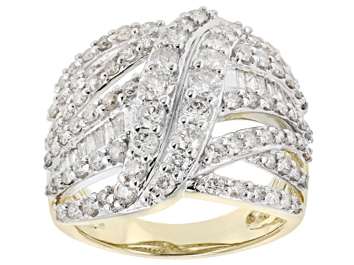Photo of 2.00ctw Round and Baguette White Diamond Ring 10k Yellow Gold Ring - Size 8