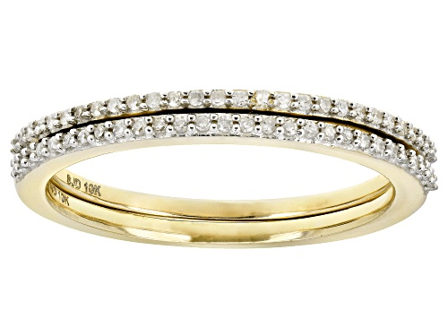 Photo of 0.15ctw Round White Diamond 10k Yellow gold Set of 2 Stackable Bands - Size 10