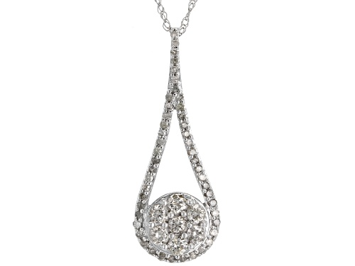 Photo of .50ctw Round White Diamond 10k White Gold Pendant with 18inch Rope Chain
