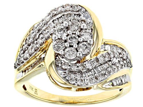 Photo of 1.00ctw Round and Baguette White Diamond 10k Yellow Gold Ring - Size 5