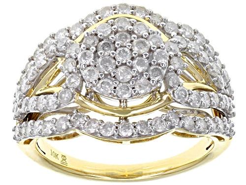 Photo of 1.50ctw Round White Diamond 10k Yellow Gold Cluster Ring - Size 7