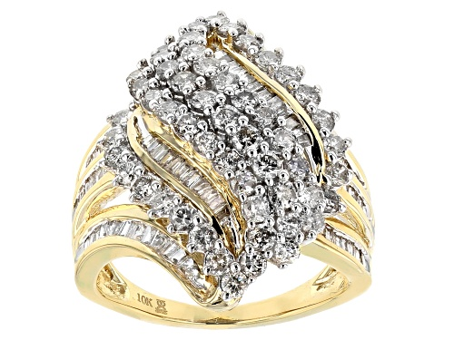 Photo of 2.00ctw Round and Baguette White Diamond 10k Yellow Gold Ring - Size 6