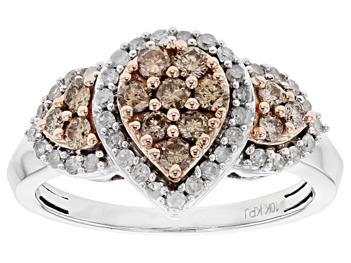Photo of .75ctw Round Champagne and White Diamond 10k White Gold Ring with 14k Rose Gold Accents - Size 7
