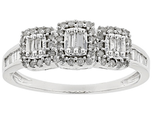 Photo of .33ctw Round and Baguette White Diamond 10k White Gold Ring - Size 7