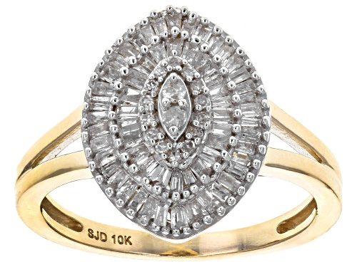 Photo of .50ctw Round and Baguette White Diamond 10k Yellow Gold Ring - Size 9