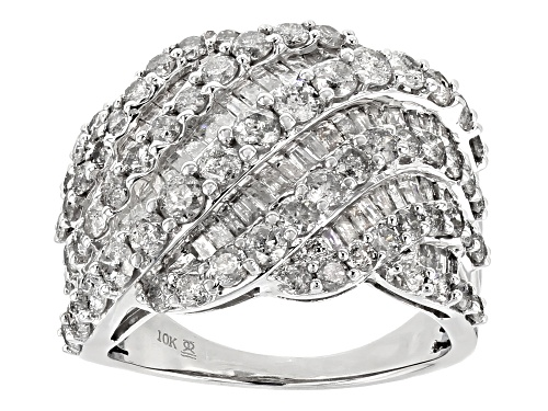 Photo of 3.00ctw Round And Baguette White Diamond 10k White Gold Ring - Size 7