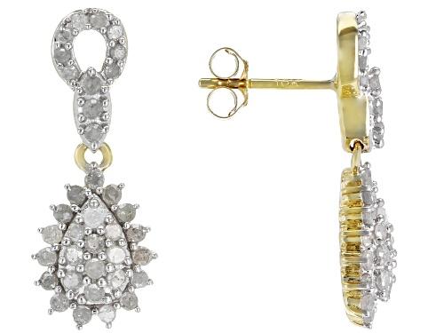 Photo of .80ctw Round White Diamond 10k Yellow Gold  Earrings
