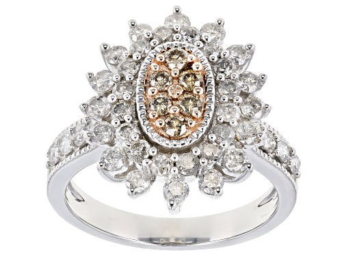 Photo of 1.50ctw Round Champagne and White Diamond 10k White Gold Ring - Size 9