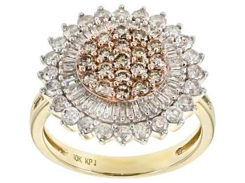 Photo of 1.50ctw Round and Baguette Champagne and White Diamond 10k Yellow Gold Ring - Size 9