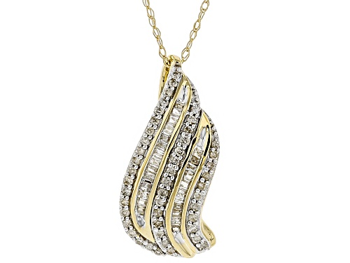 Photo of .30ctw Round and Baguette White Diamond 10k Yellow Gold Pendant With Chain