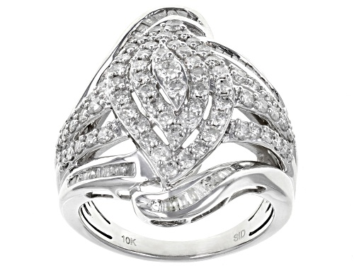 Photo of 1.50ctw Round and Baguette White Diamond 10k White Gold Ring - Size 7.5