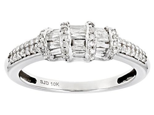 0.50ctw Baguette And Round White Diamond 10k White Gold Ring - Size 7