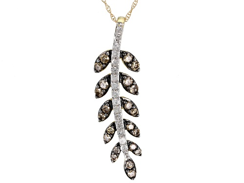 Photo of 0.75ctw Round Champagne And White Diamond 10k Yellow Gold Pendant With 18inch Chain