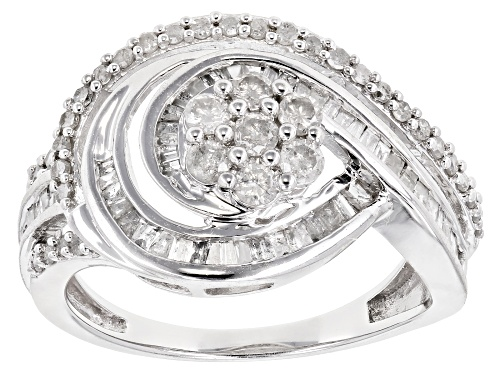 Photo of 1.00ctw Round and Baguette White Diamond 10K White Gold Cluster Ring - Size 7