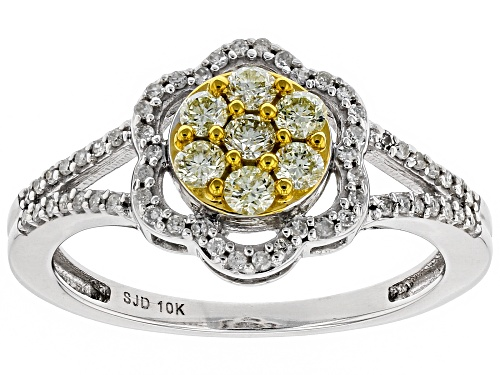 Photo of 0.45ctw Round Natural Yellow And White Diamond 10K White Gold Ring - Size 10