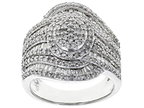 Photo of 1.63ctw Round and Baguette White Diamond 10K White Gold Ring - Size 8