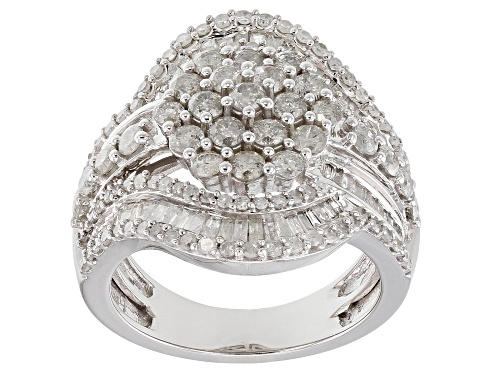 Photo of 2.50ctw Round And Baguette White Diamond 10k White Gold Ring - Size 5