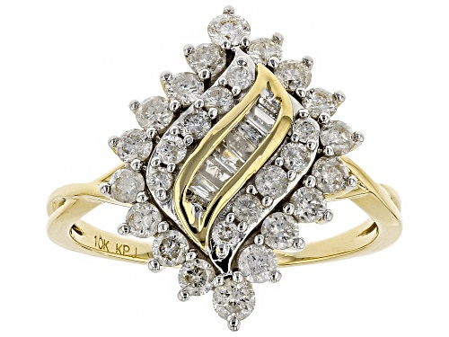 Photo of 1.00ctw Round And Baguette White Diamond 10k Yellow Gold Ring - Size 7