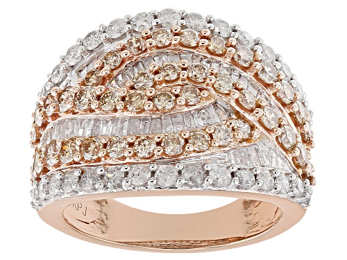 Photo of 2.50ctw Round And Baguette Champagne And White Diamond 10k Rose Gold Ring - Size 7