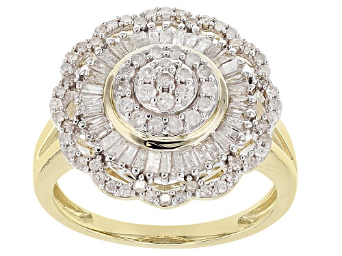 Photo of 0.75ctw Round And Baguette White Diamond 10k Yellow Gold Ring - Size 8