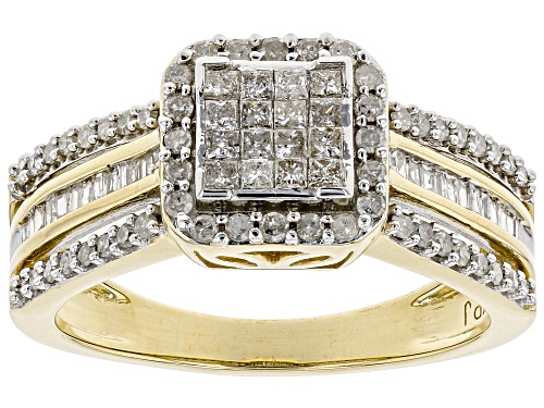 Photo of 0.59ctw Princess cut, Round And Baguette White Diamond 10k Yellow Gold Ring - Size 7