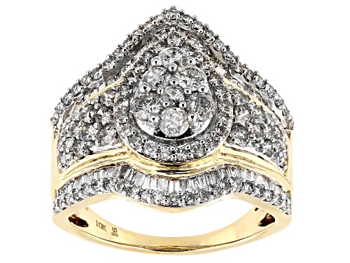 Photo of 2.00ctw Round And Baguette 10k Yellow Gold Ring - Size 8.5
