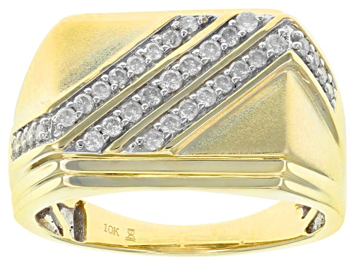 Photo of 0.50ctw Round White Diamond 10k Yellow Gold Mens Ring - Size 11