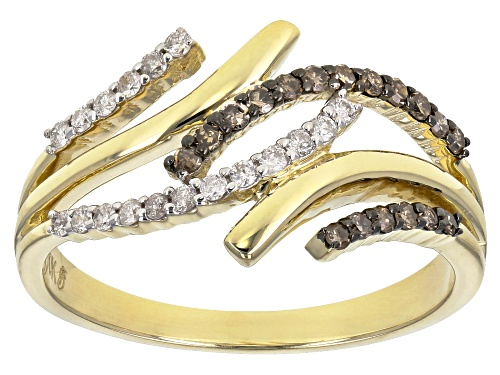 Photo of 0.25ctw Round Champagne And White Diamond 10k Yellow Gold Ring - Size 8