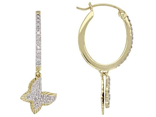 Photo of 0.33ctw Round White Diamond 10K Yellow Gold Earrings