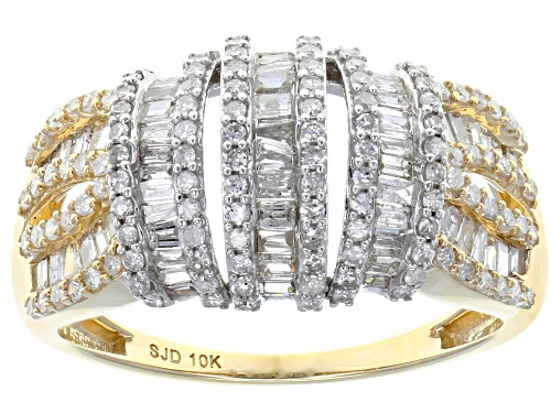 1.00ctw Round And Baguette White Diamond 10k Yellow Gold Ring - Size 7