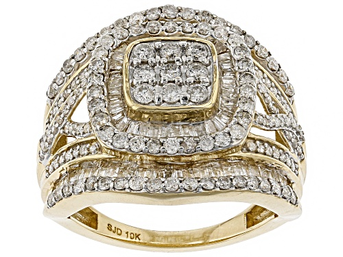 Photo of 1.95ctw Round And Baguette White Diamond 10k Yellow Gold Ring - Size 5