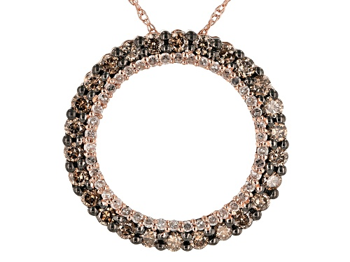 Photo of 0.75ctw Round Champagne And White Diamond 10k Rose Gold Pendant With 18 Inch Chain