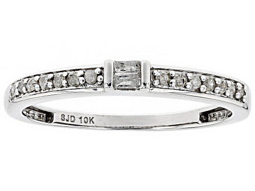 Photo of .15ctw Round and Baguette White Diamond 10k White Gold Ring - Size 7