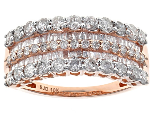 Photo of 1.45ctw Round and Baguette White Diamond 10k Rose Gold Ring - Size 8