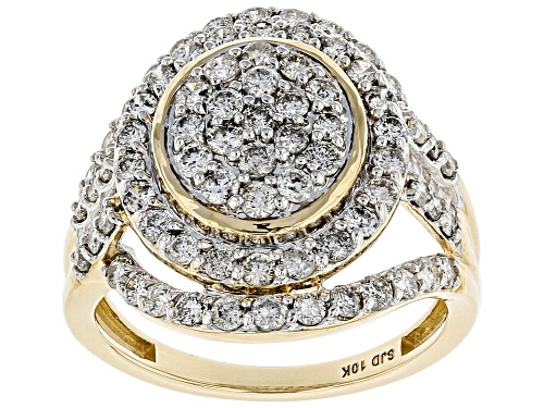Photo of 1.75ctw Round and Baguette White Diamond 10k Yellow Gold Ring - Size 6