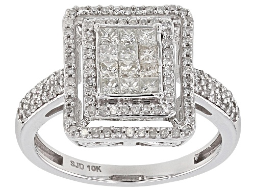 Photo of 0.70ctw Round And Princess Cut White Diamond 10k White Gold Ring - Size 7