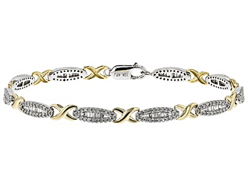 Photo of 1.26ctw Round And Baguette White Diamond 10k Two-Tone Gold Bracelet - Size 7.5