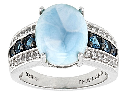 Photo of Oval Cabochon Larimar, .44ctw Round London Blue Topaz, .18ctw Round White Topaz Silver Ring - Size 11