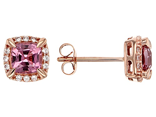 Photo of 1.40ctw Sqaure Cushion Burmese Pink Spinel With .07ctw Round White Zircon 10k Rose Gold Earrings.