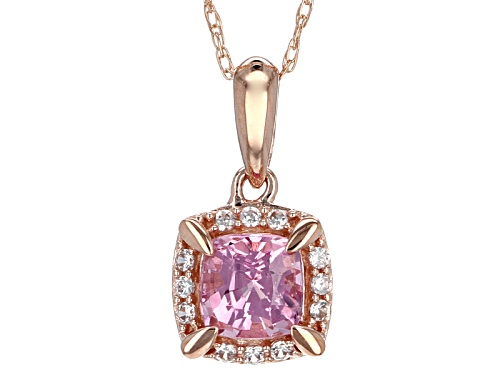 Photo of .61ct Square Cushion Burmese Pink Spinel And .16ctw White Zircon 10k Rose Gold Pendant With Chain